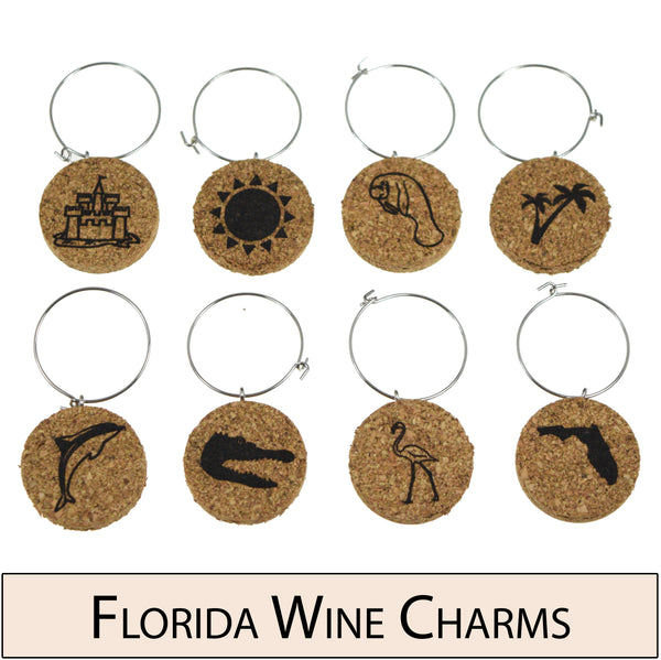Florida Themed Cork Wine Glass Charms - Set of 8