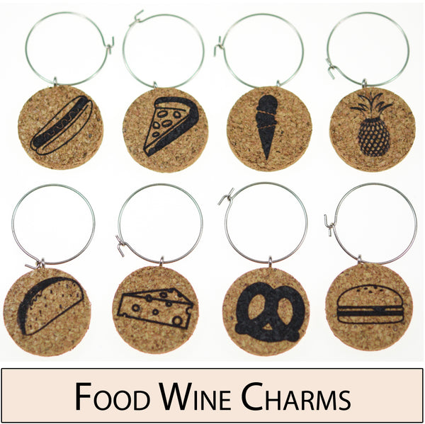 Food Themed Cork Wine Glass Charms - Set of 8