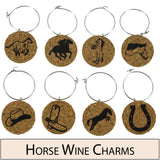 Horse Themed Cork Wine Glass Charms - Set of 8