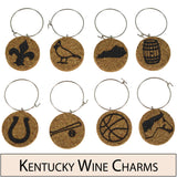 Kentucky Themed Cork Wine Glass Charms - Set of 8