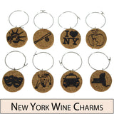 New York Themed Cork Wine Glass Charms - Set of 8
