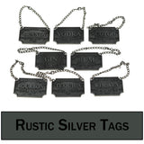 Rustic Silver Colored Decanter Tags / Labels - Set of Eight