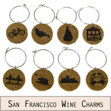 San Francisco Cork Wine Glass Charms - Set of 8