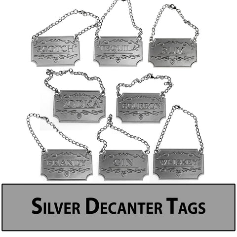 Silver Decanter Tags / Labels - Set of Eight