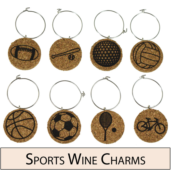 Sports Themed Cork Wine Glass Charms - Set of 8