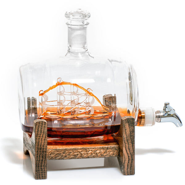 Barrel Shaped Liquor/Wine Decanter with Ship Inside - 1000ml (Tomoka Gold)