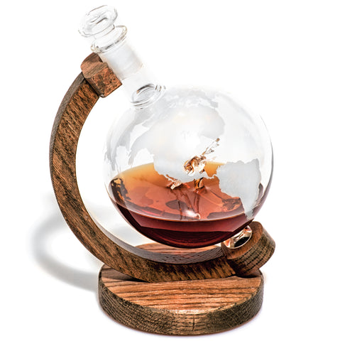 Etched Globe Liquor Decanter with C-130 Inside - 1000ml (C-130 Decanter)