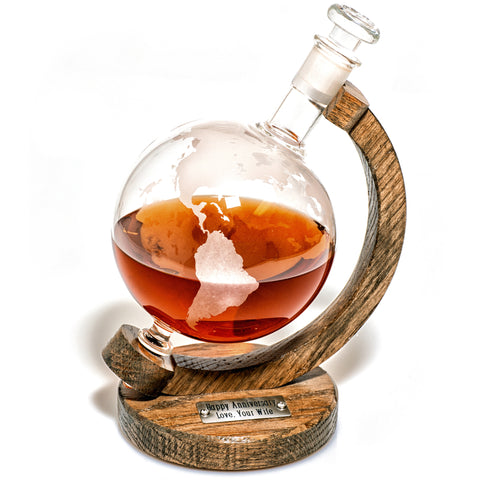1000ml Etched Glass Globe Whiskey / Wine Decanter - (Pythagoras Decanter)