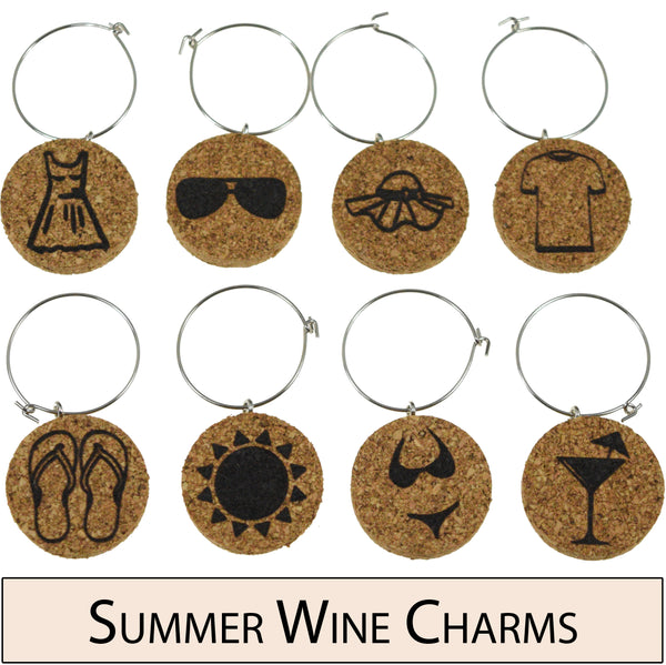 Summer Themed Cork Wine Glass Charms - Set of 8