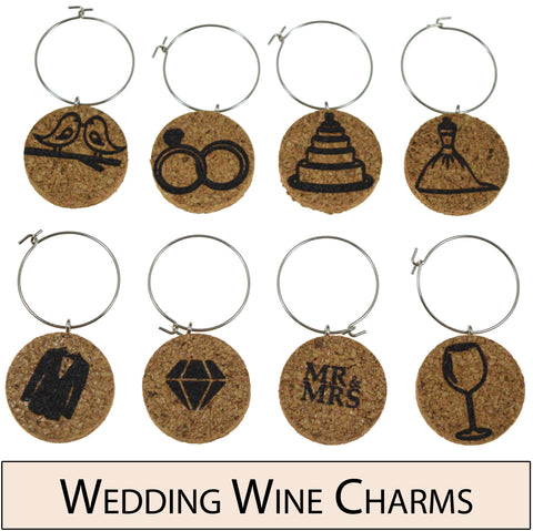 Wedding Themed Cork Wine Glass Charms - Set of 8