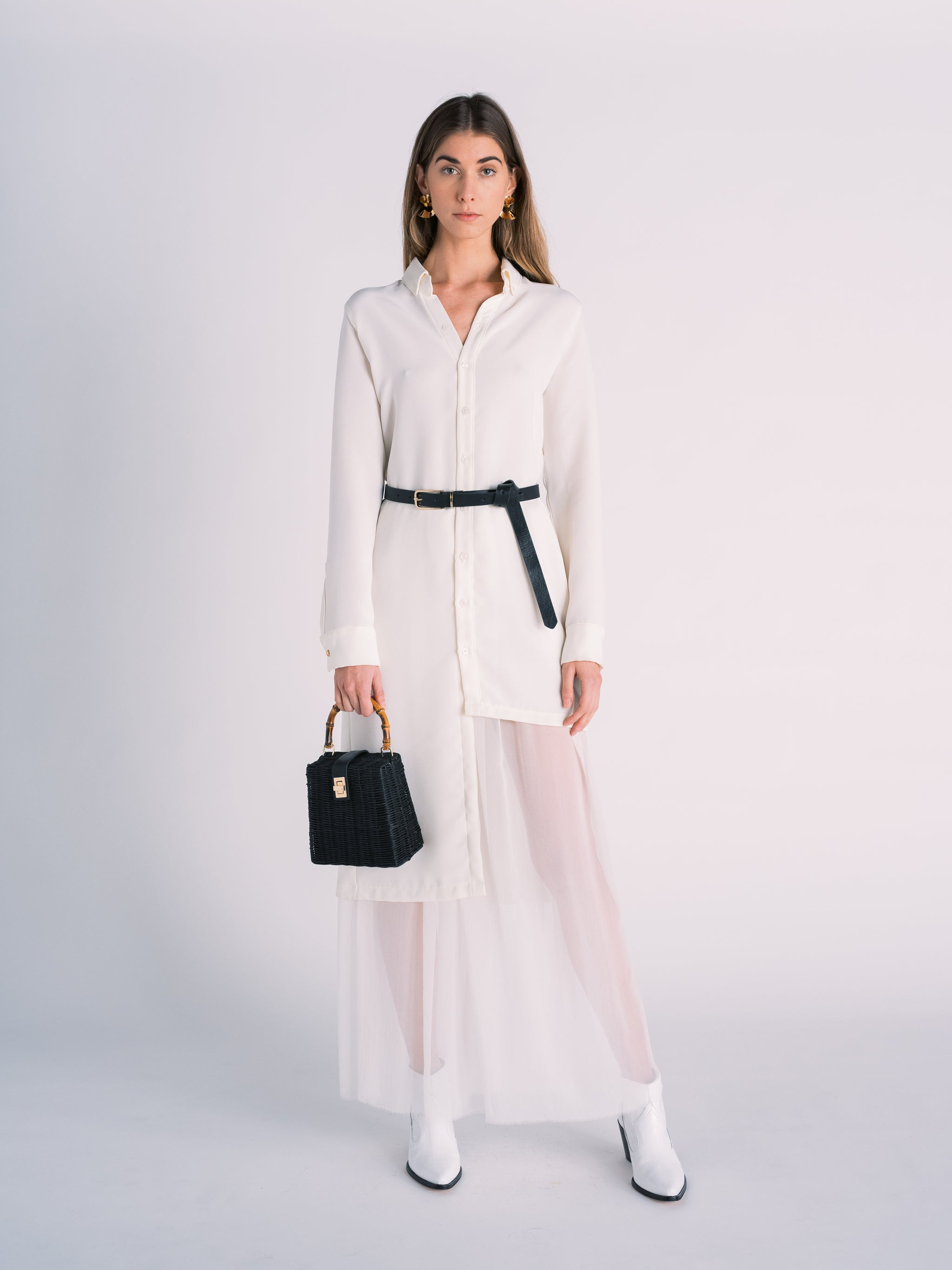 Asymmetric Collared Button Down Dress with Silk Slip Maxi Skirt in White
