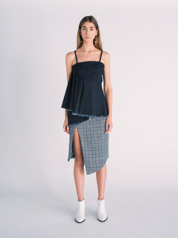 Asymmetrical Denim Skirt in Gray