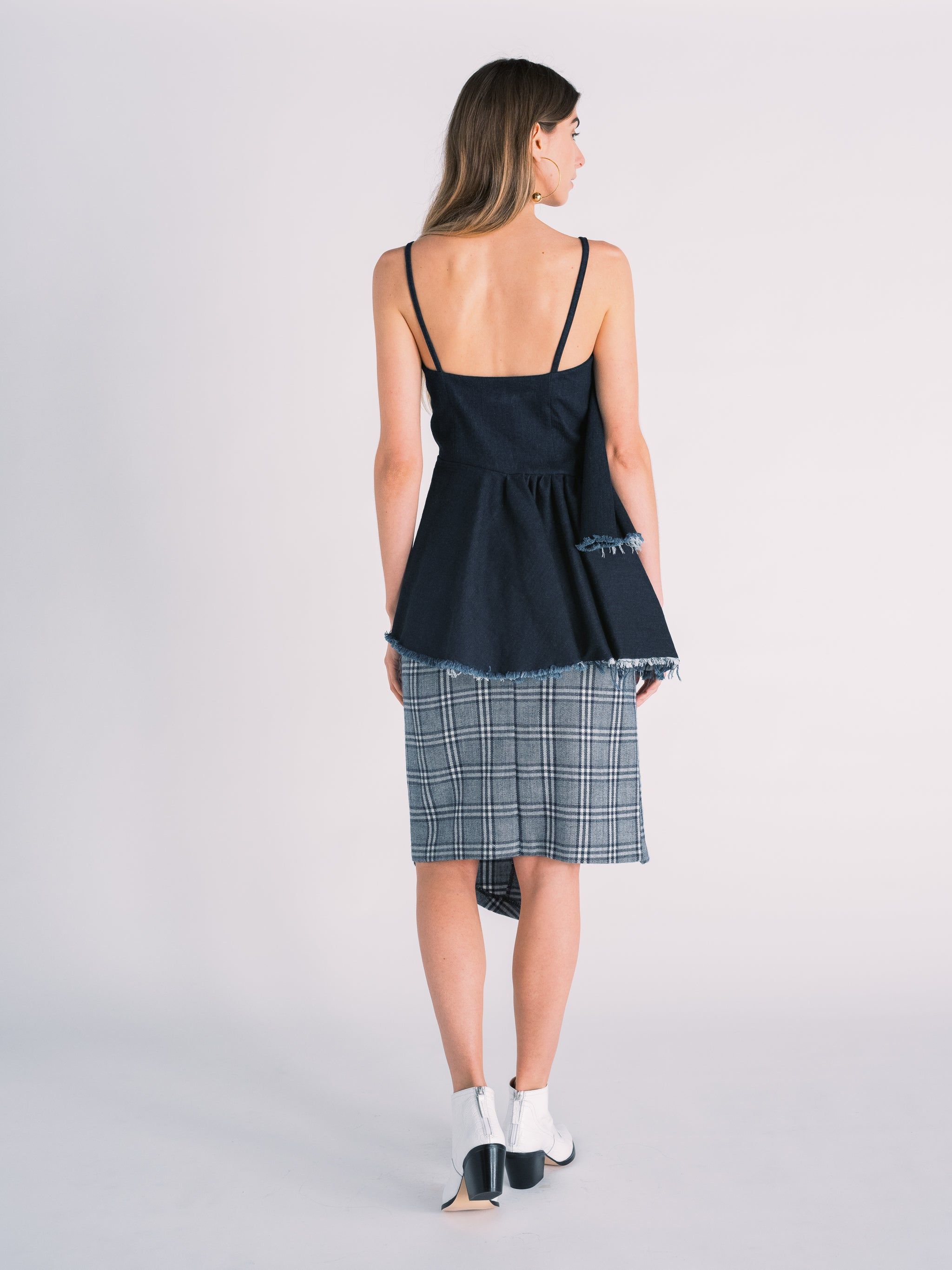 Asymmetric Ruffled Top in Dark Navy Denim