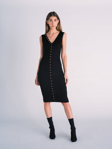 Knit Black Midi Dress with Gold Buttons