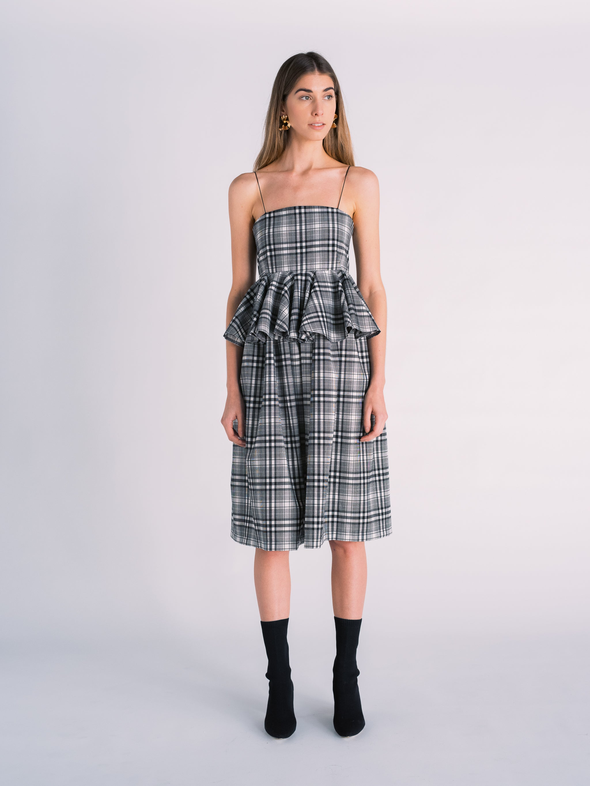 Plaid Midi Dress with Peplum in Black and White Madras Print