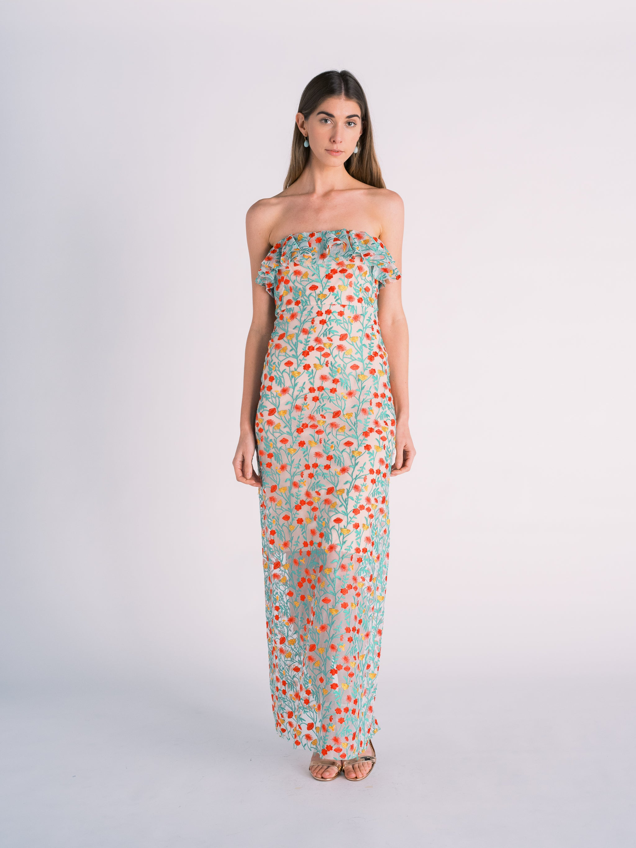 Embroidered Floral Strapless Gown
