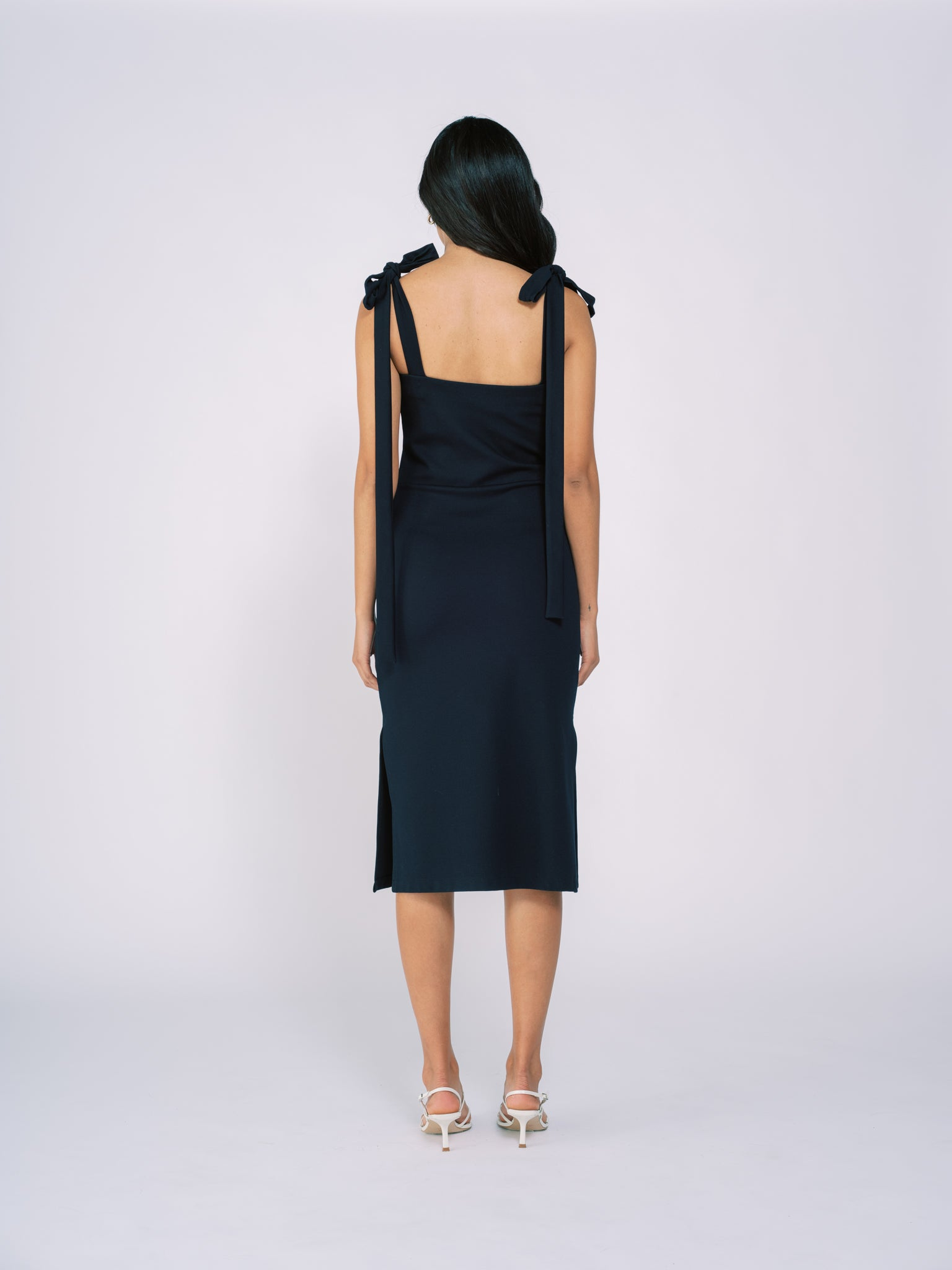 Tied Shoulder Dress in Navy