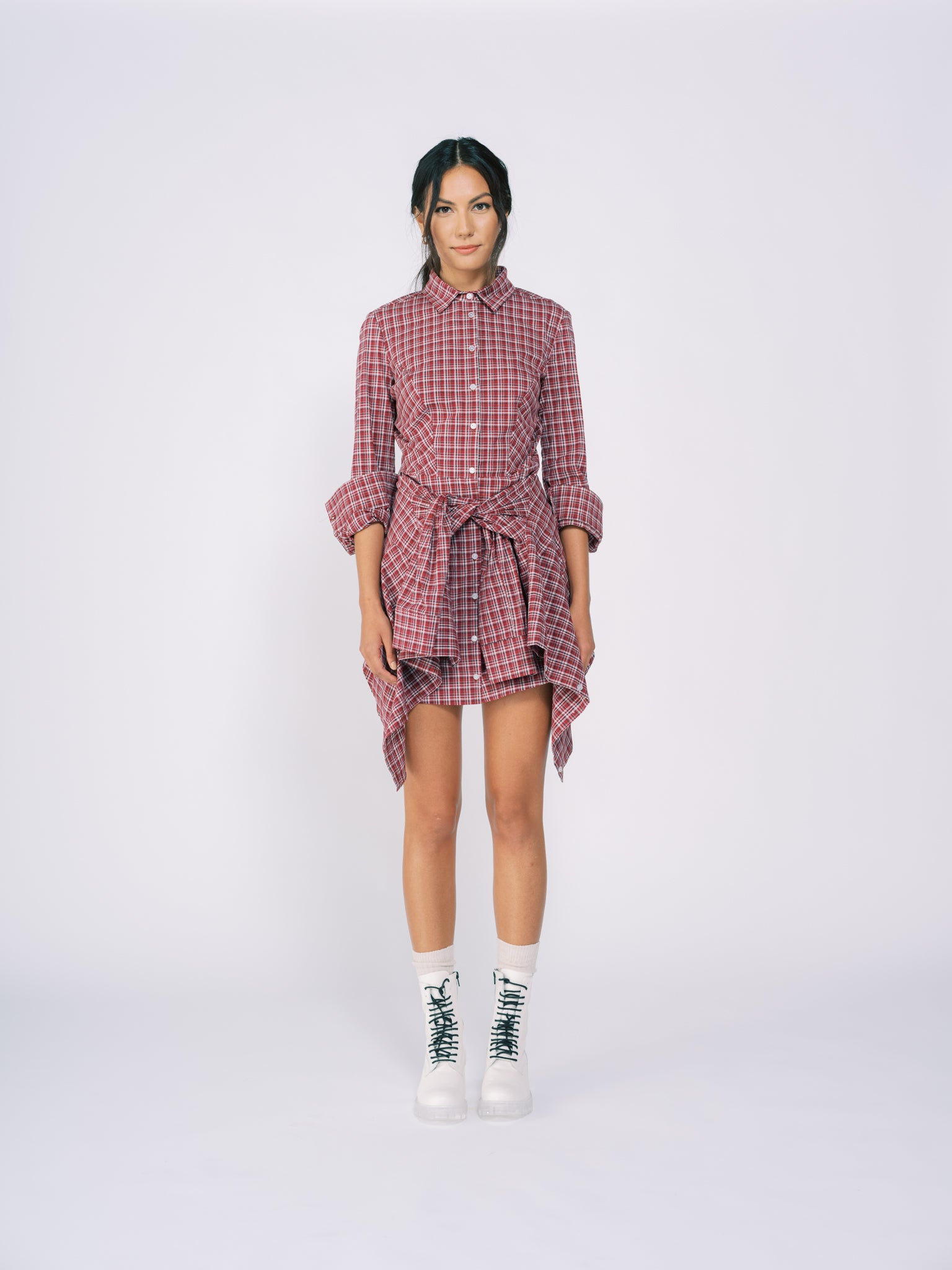 Collared Shirt Dress with Wrap Detail in Red Plaid