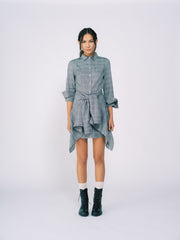 Collared Shirt Dress with Wrap Shirt Detail in Gray Plaid