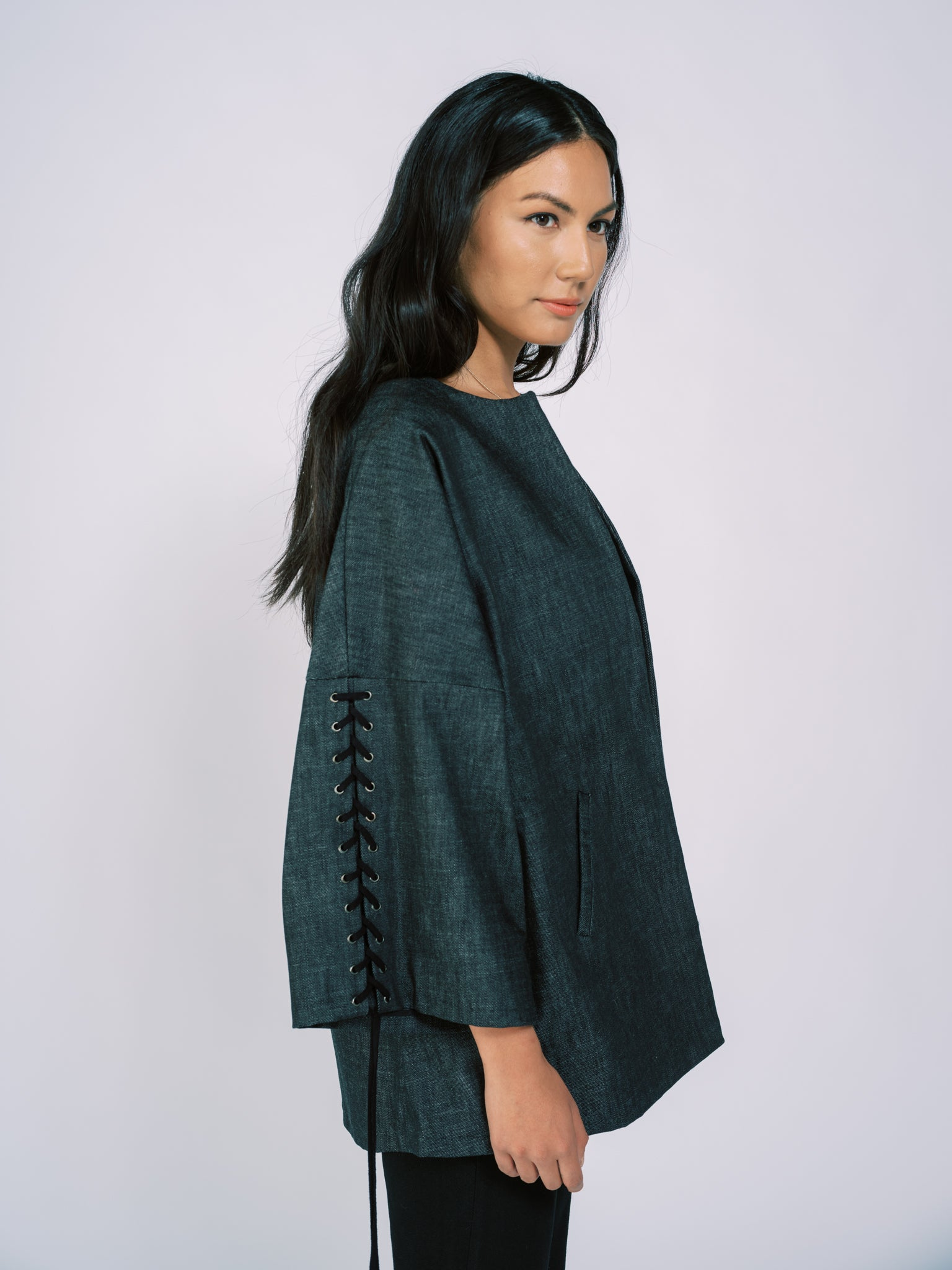 Denim Kimono Jacket with Laced Sleeves