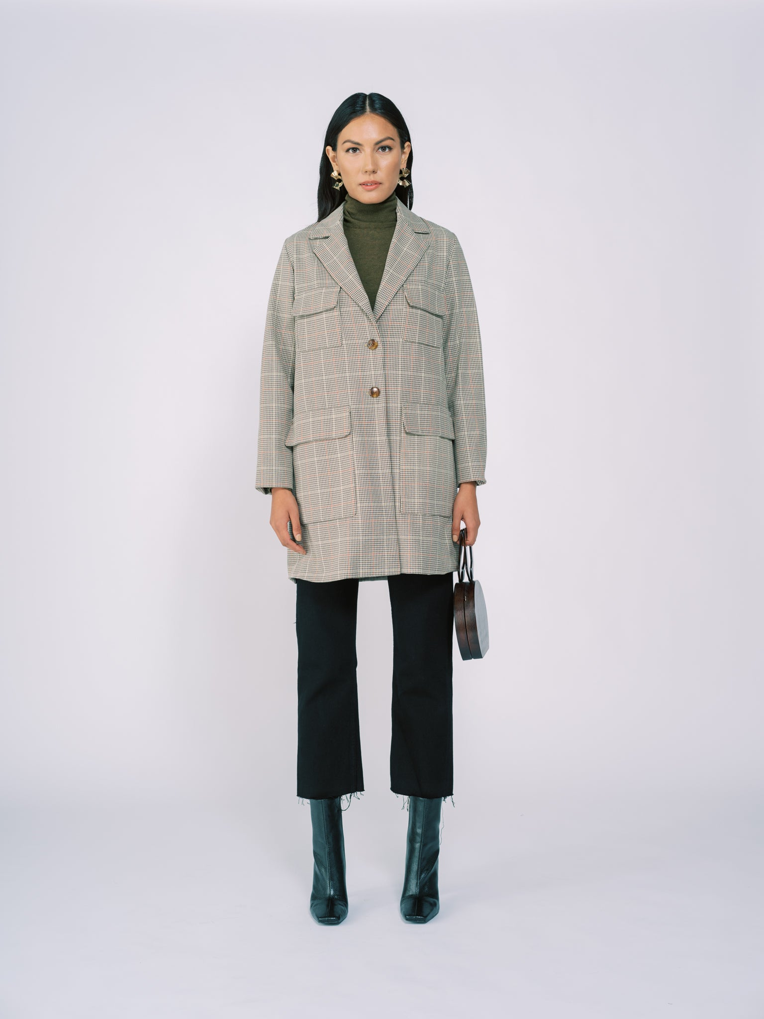 Coat with Pockets Peagreen Plaid