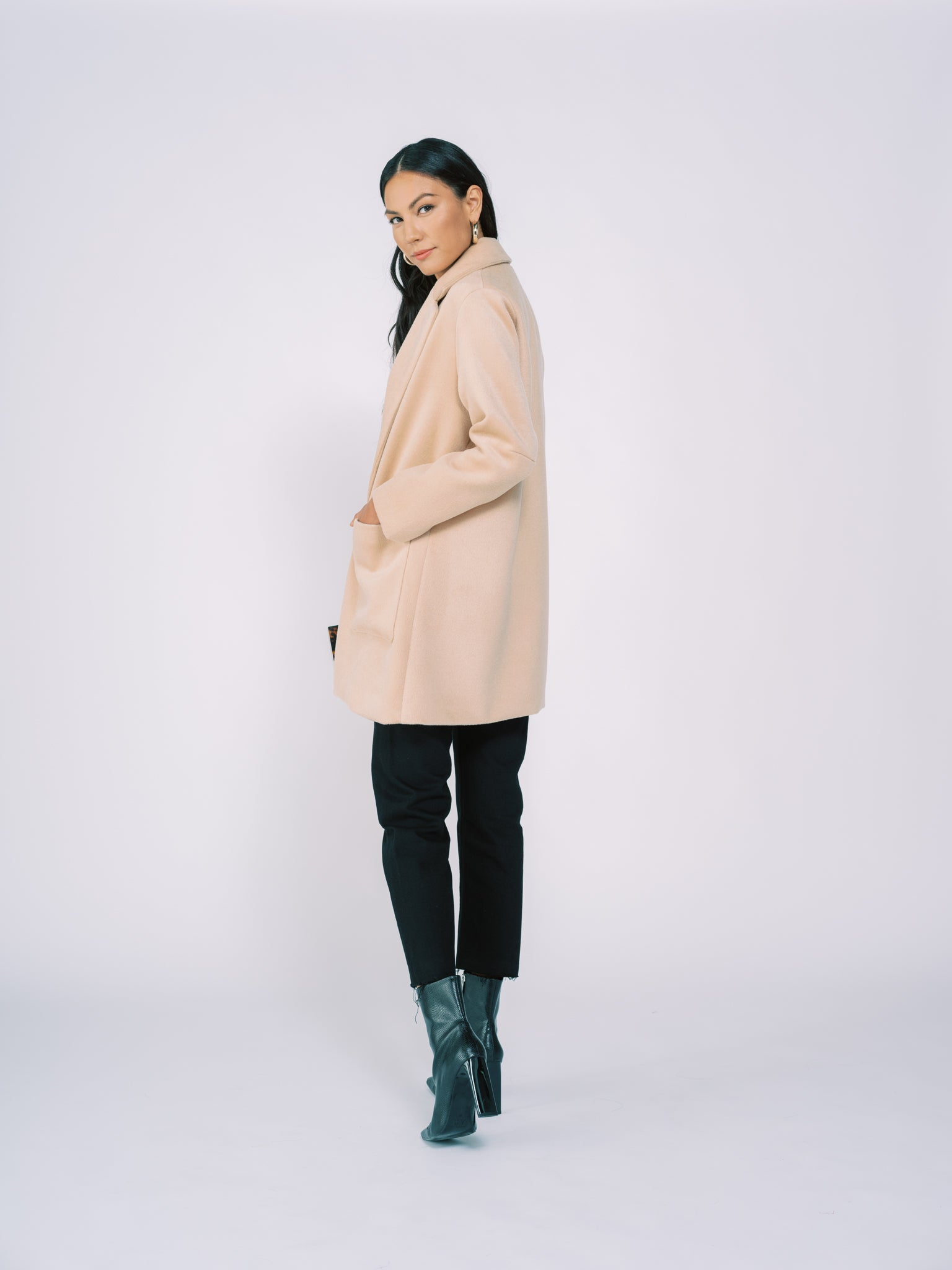 Coat with Pockets in Camel