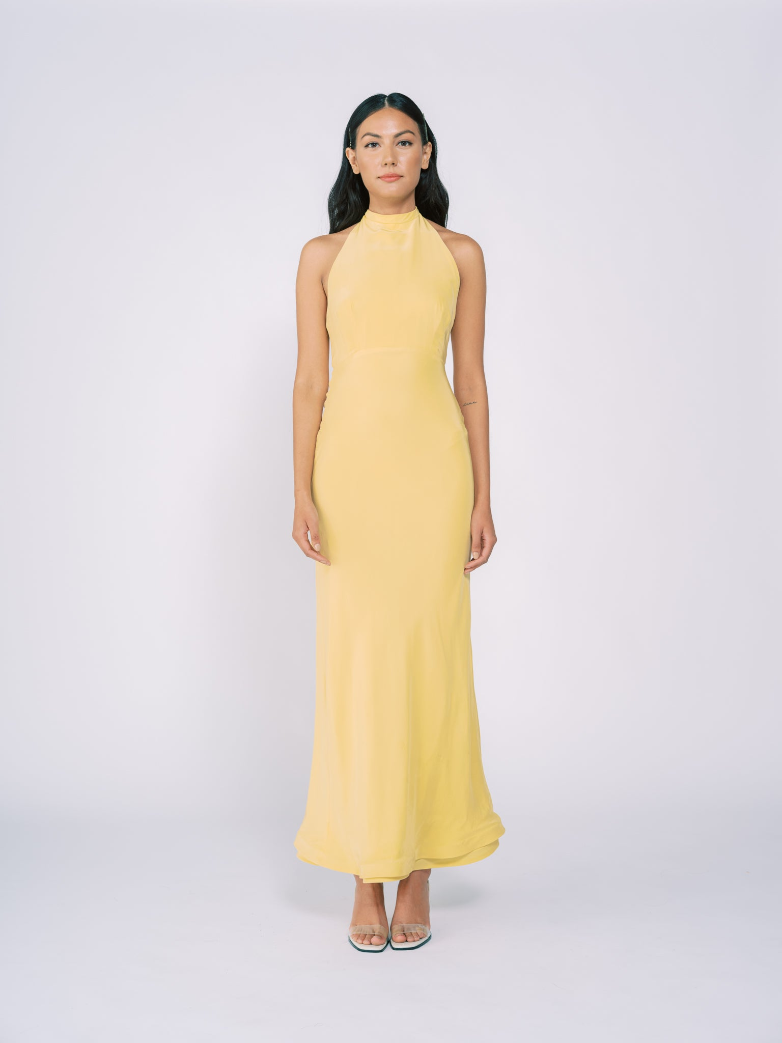 Silk Halter Gown in Pale Yellow