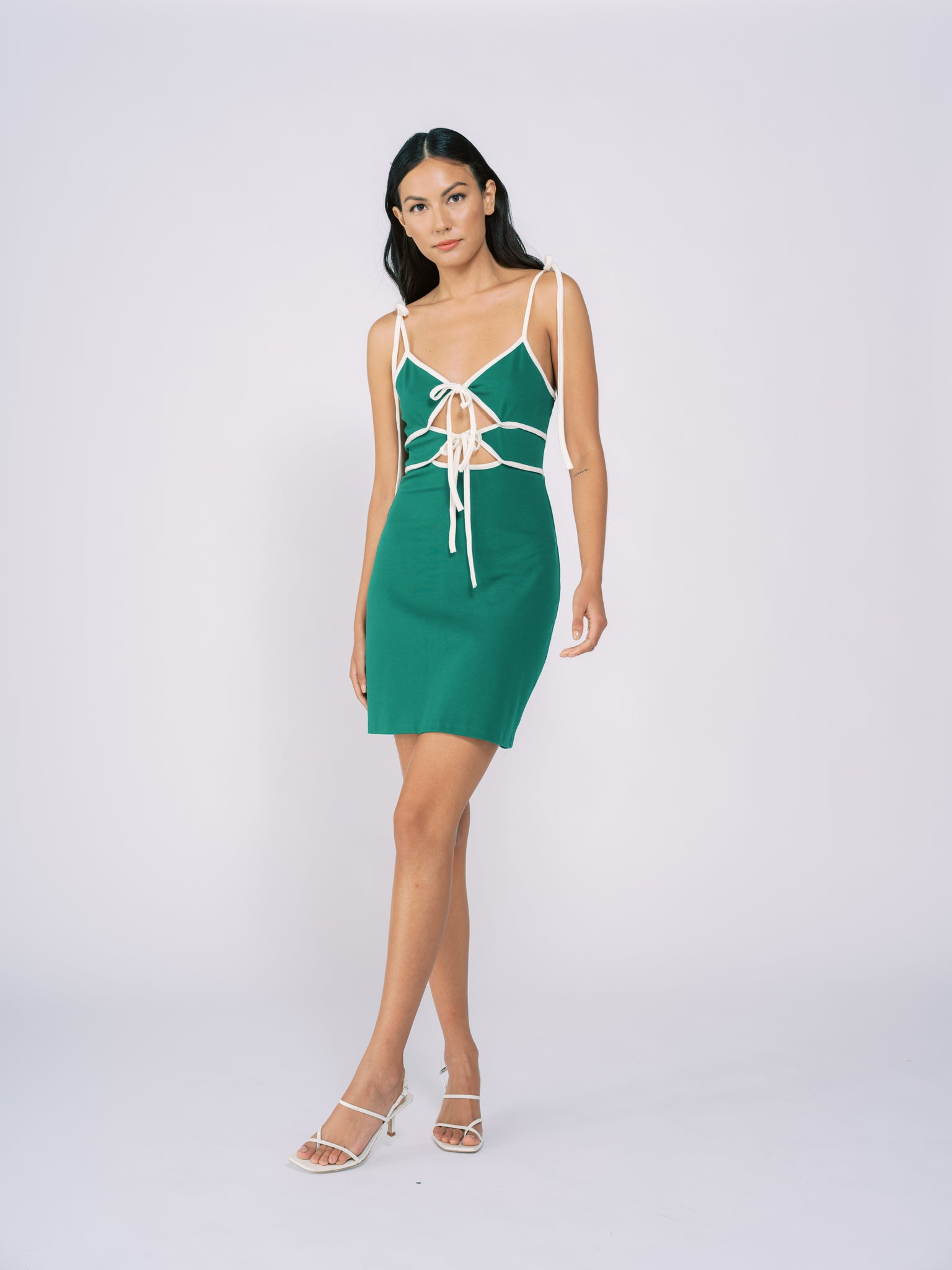 Tied Knit Mini Dress in Green