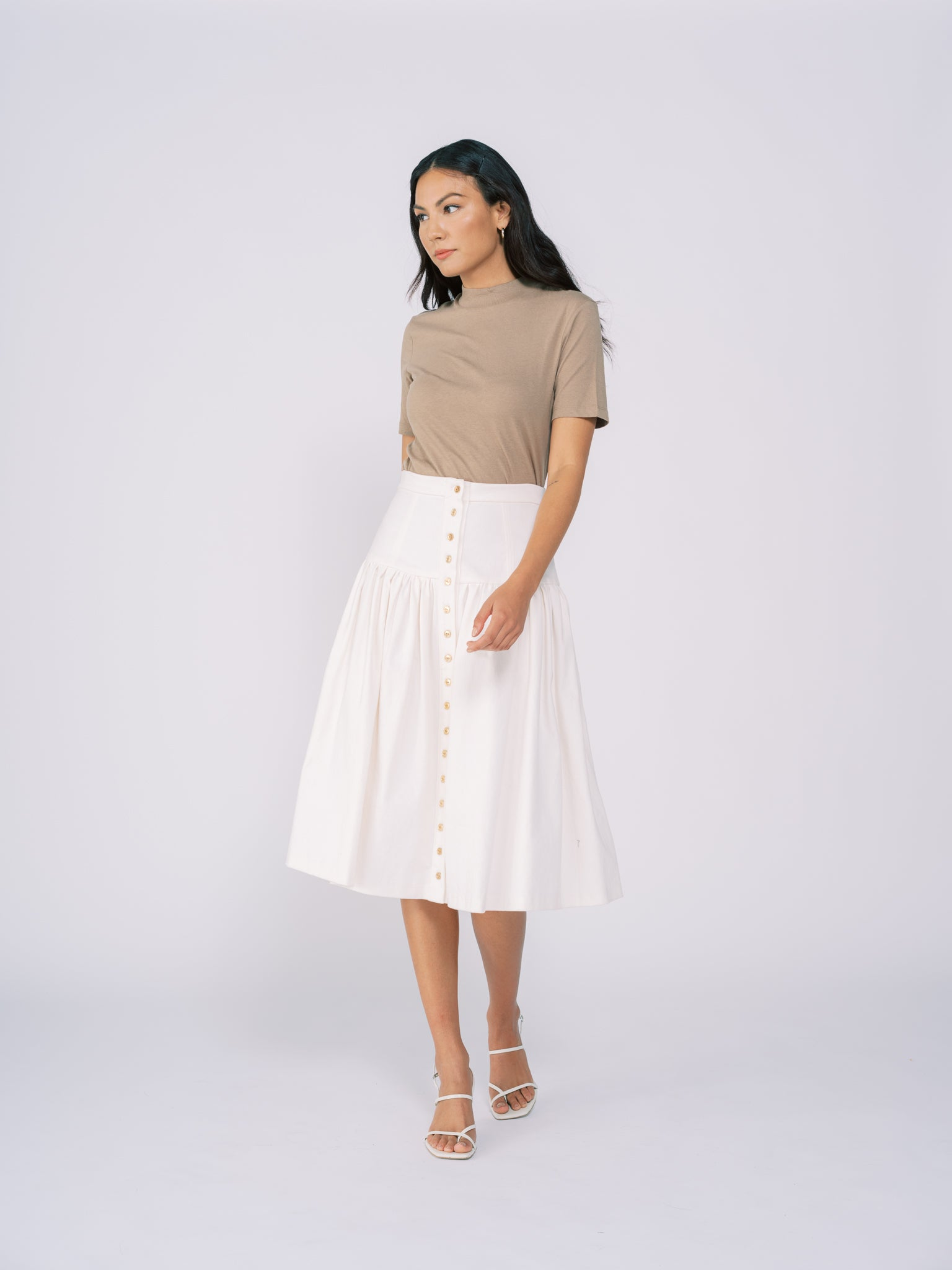 Button Down Denim Midi Skirt in White