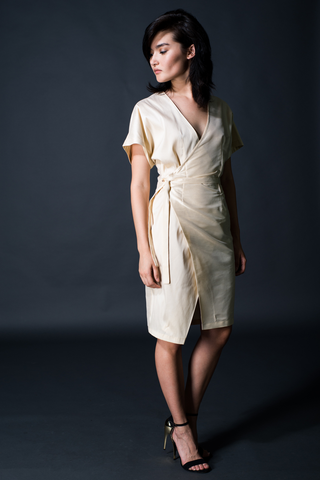 Ruched Sleeve Deep-V Midi Dress in Eggshell