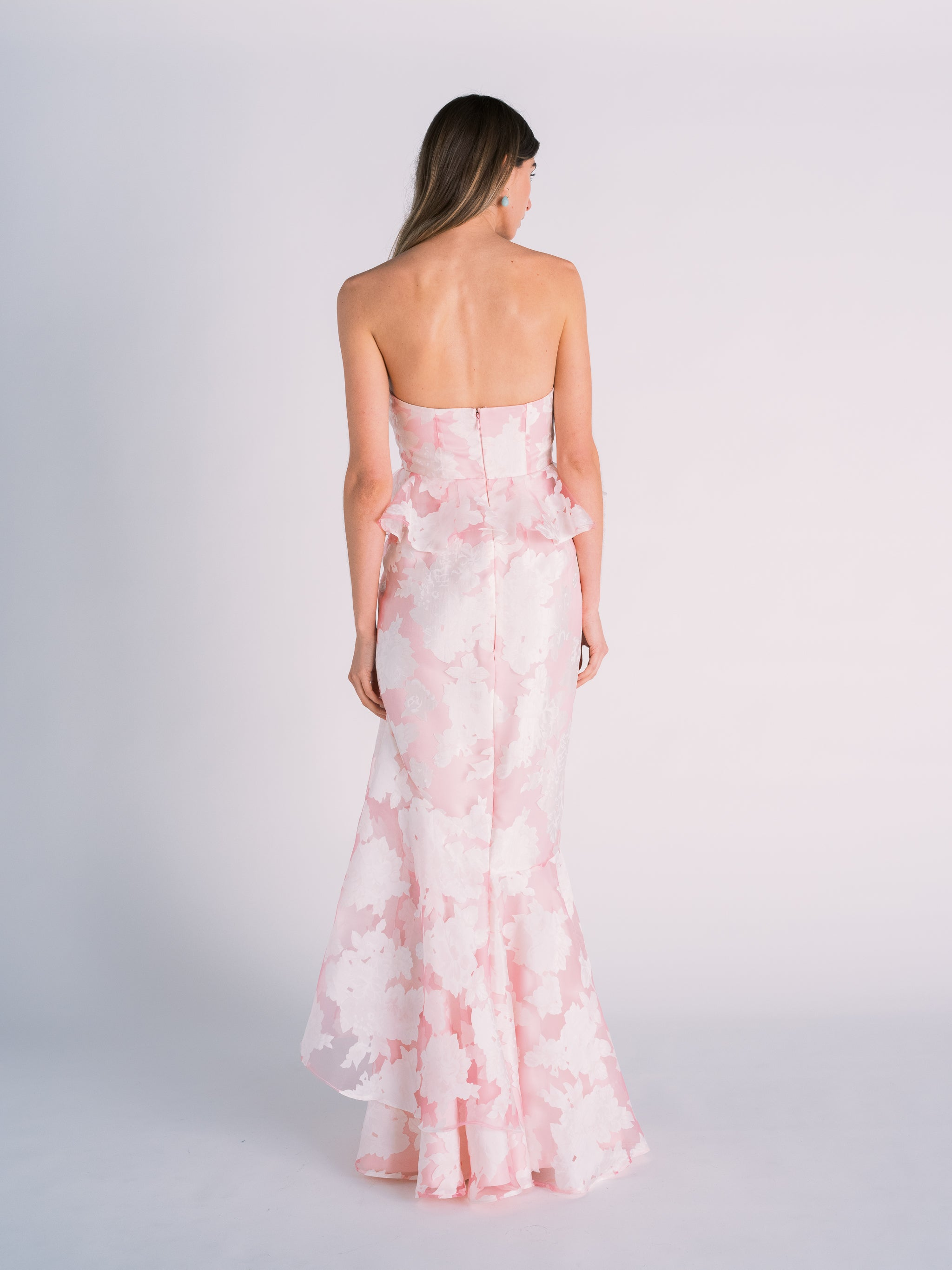 Pink Floral Strapless Gown