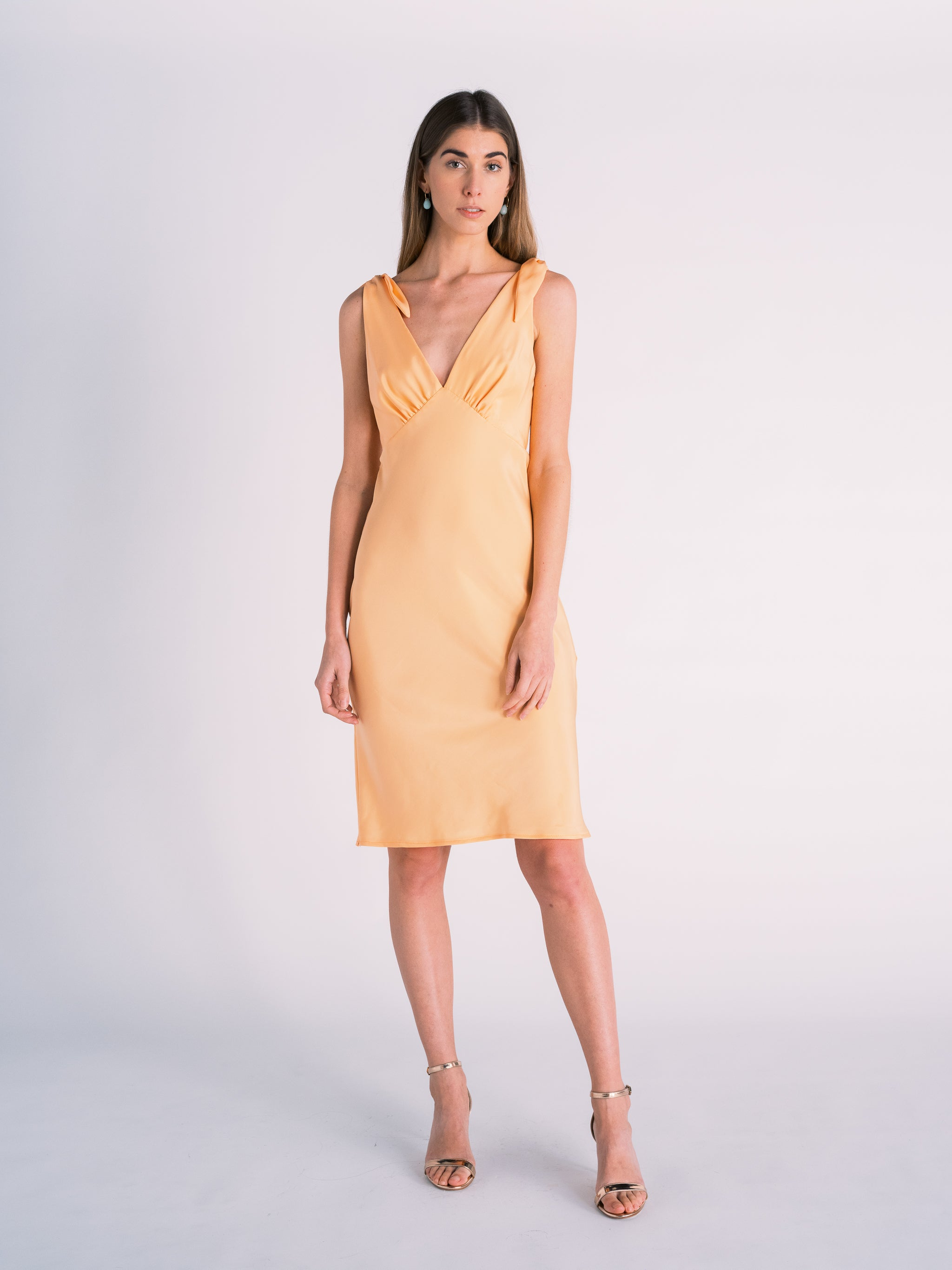 Silk Tied Shoulder Dress in Cantaloupe