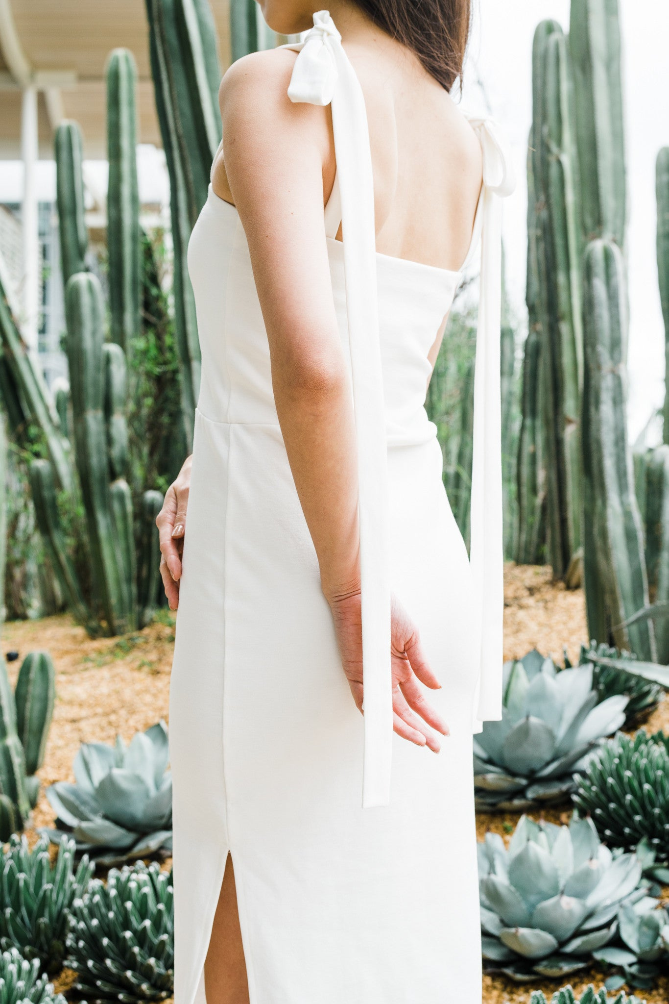 Tied Shoulder Dress in White