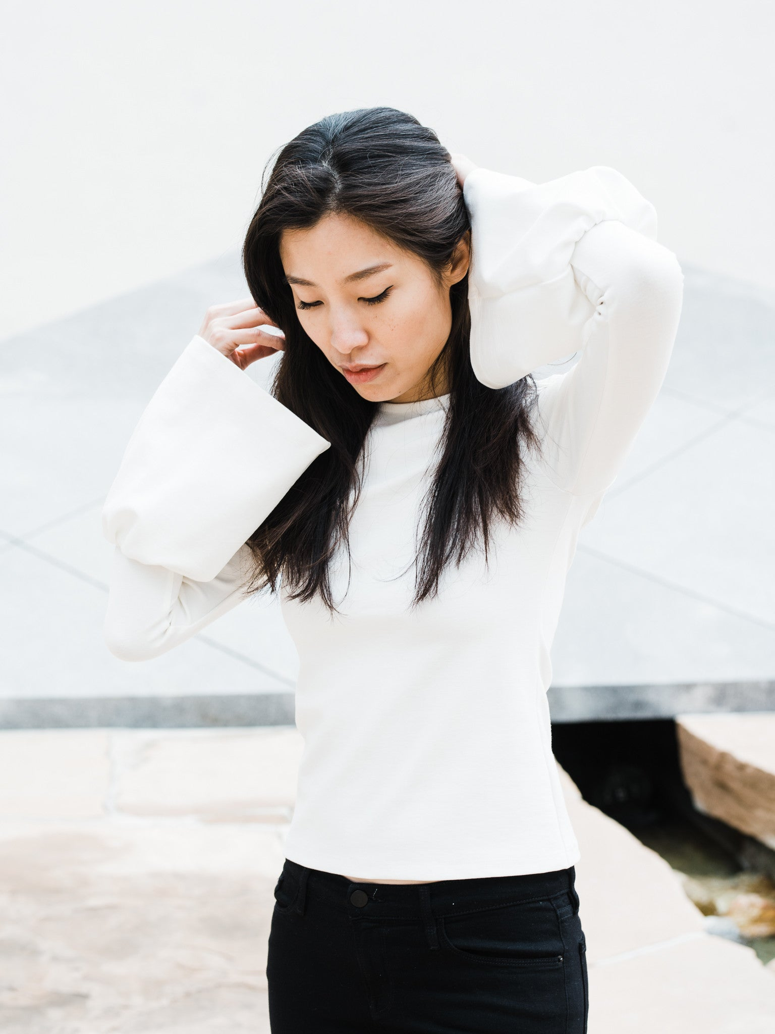 Bell Sleeve Top in White