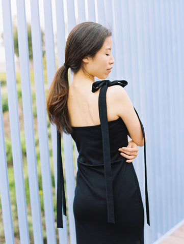 Velvet Tied Shoulder Dress