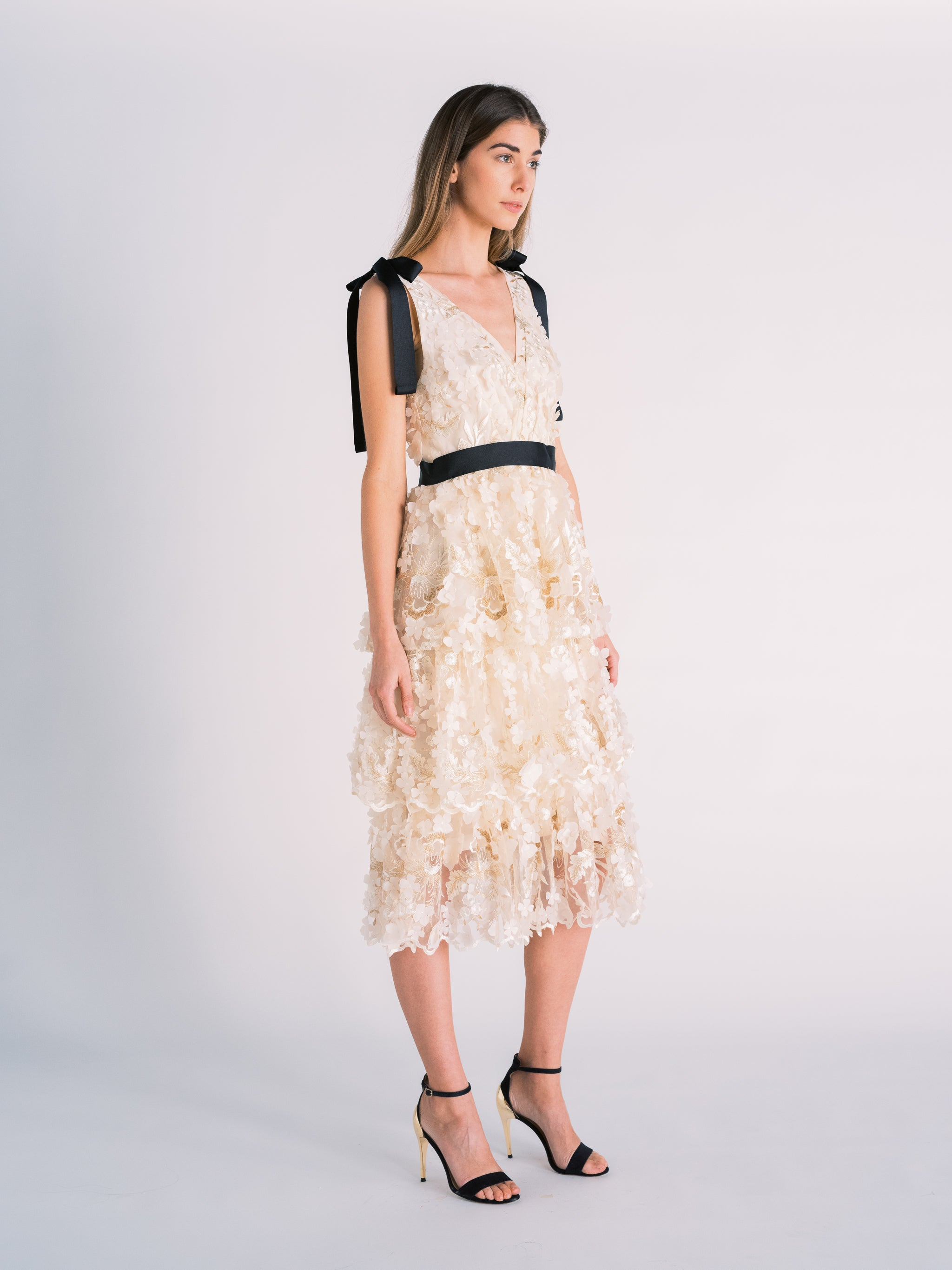 Tiered Floral Cut-out Dress in Off-white