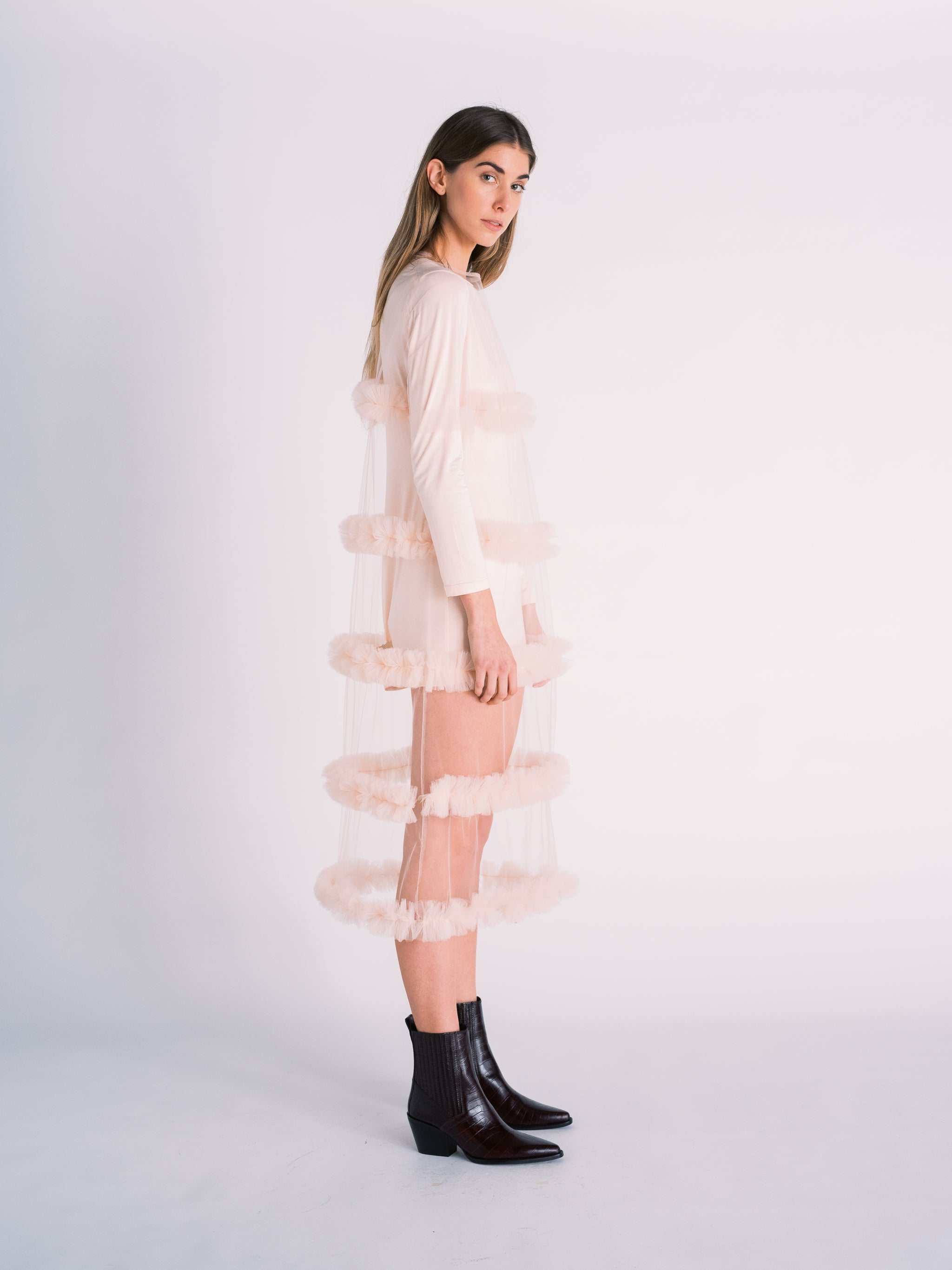 Tulle Slip Dress with Gathered Tiers in Pale Pink