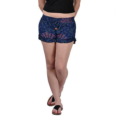 Women Girls Blue Shorts Online Sleepwear Flower Printed BeachWear Cloth Cotton - JKK Mart