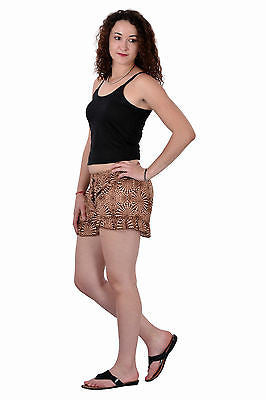 Women Girls Brown Shorts Online Sleepwear Flower Printed BeachWear Cloth Cotton - JKK Mart