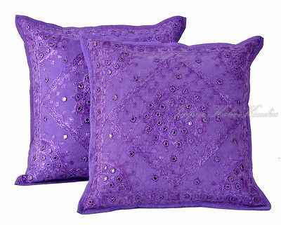 "Indian Purple 16"" Set of 2 PC Pillow Cushion Cover Embroidered Cotton Decor Art - JKK Mart"