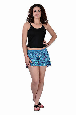 Women Girls Sky Blue Shorts Online Sleepwear Flower Printed Beachwear Cotton - JKK Mart