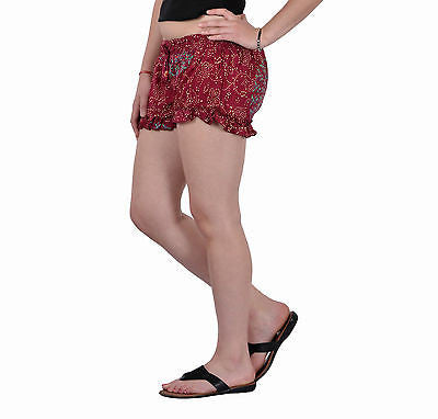 Women Girls Maroon Shorts Online Sleepwear Flower Printed BeachWear Cotton - JKK Mart