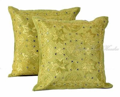 "Indian Light Green 16"" Set of 2 PC Cushion Cover Embroidered Cotton Decor Art - JKK Mart"