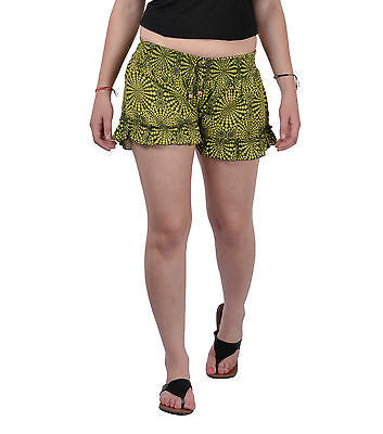 Women Girls Green Shorts Online Sleepwear Flower Printed BeachWear Cloth Cotton - JKK Mart