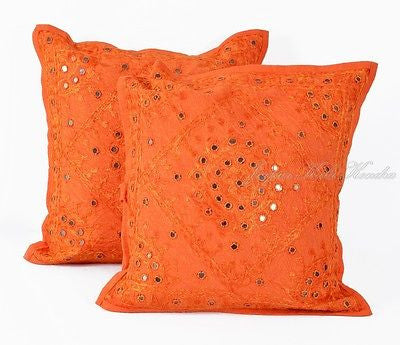 "Indian Orange 16"" Set of 2 PC Pillow Cushion Cover Embroidered Cotton Decor Art - JKK Mart"