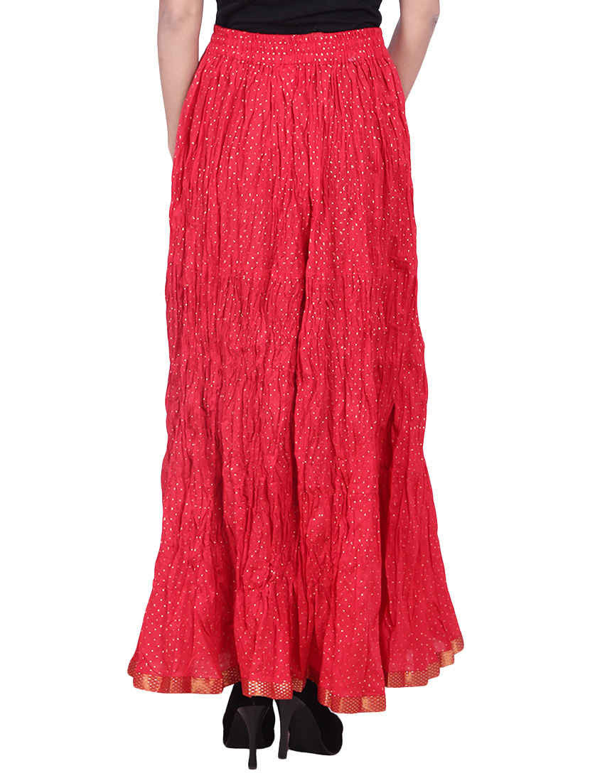 Red Color Skirt Unique Women's Designer Crinkle Long Cotton Bollywood Fashion - JKK Mart