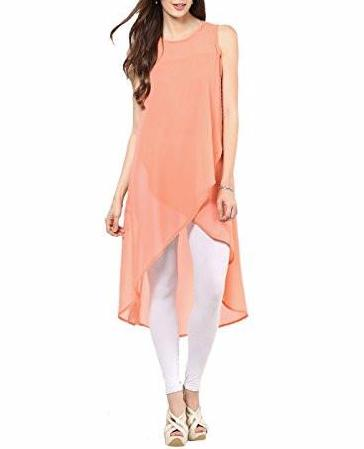 Women's Top Peach Georgette Kurti Tunic - JKK Mart