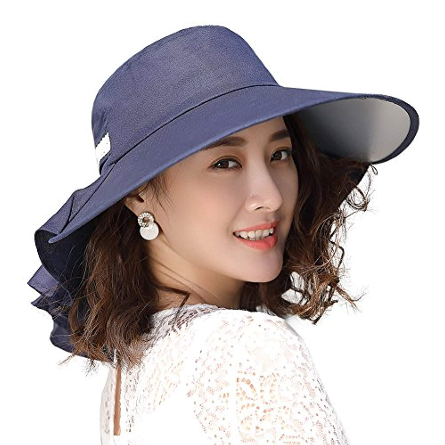 Jeff /& Aimy Womens Outdoor Mesh Safari Sun Hat UV Protection Packable Wide Brim Fishing Hat w//Chin Strap /& Ponytail Hole