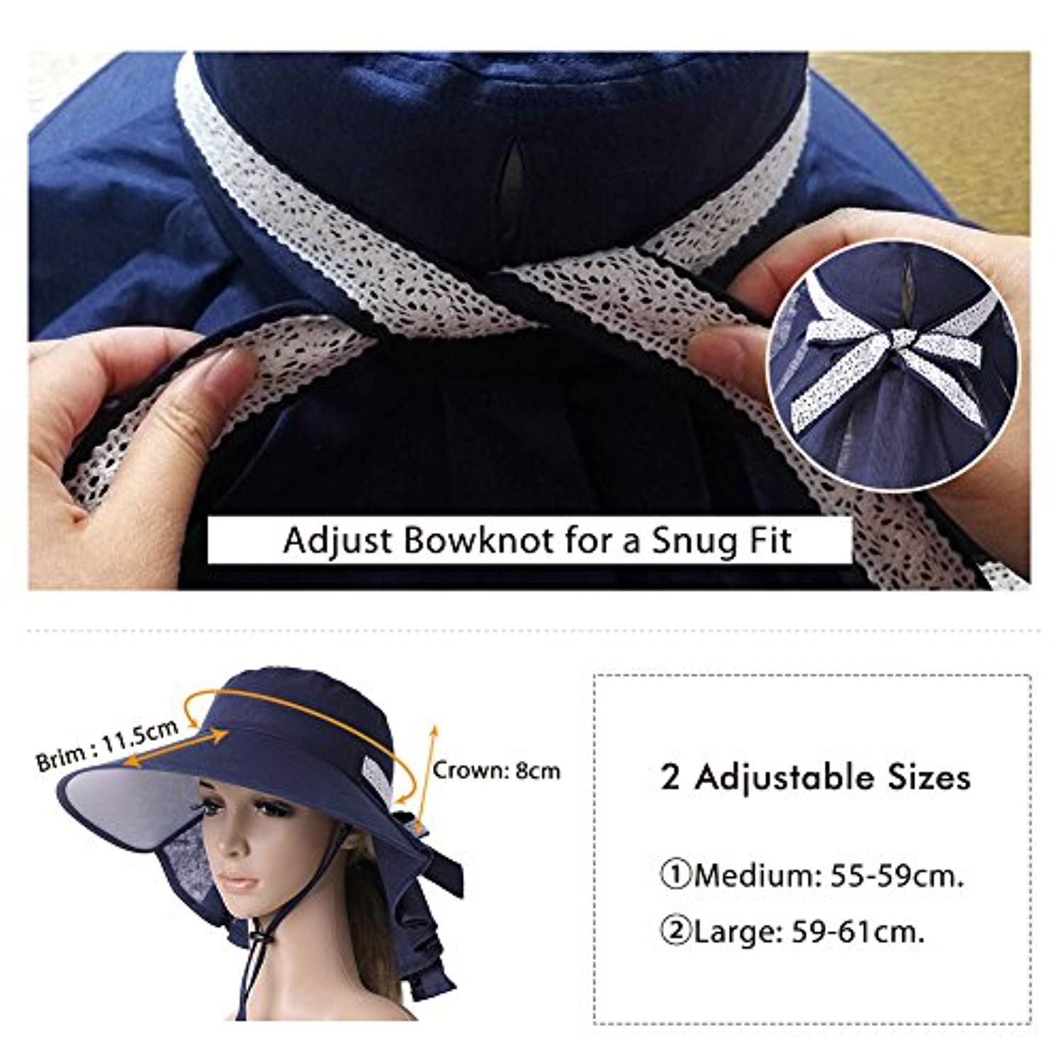 80cda32bd2b Protection Sun Hats Packable Summer Hat Women w Ponytail Chin Strap 55-61CM