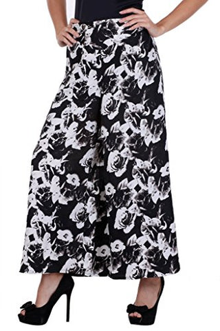 Black with White Flower Crepe Printed Palazzo for women's - JKK Mart